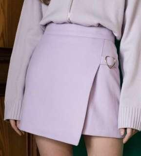 [FAST PO] Korean Ulzzang Mixmixx Heart Club 2018 Purple Heart Belt A-line High Waisted Skirt