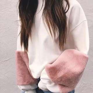 寬鬆衛衣 粉色毛毛袖 #prelovedwithlove