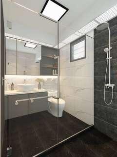 Toilet tiling renovation