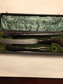 Vintage 3 piece Charles Barber & Co Sheffield carving knife set