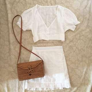 Eyelet top and skirt coordinates
