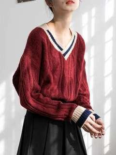 V領學院風慵懶風針織毛衣