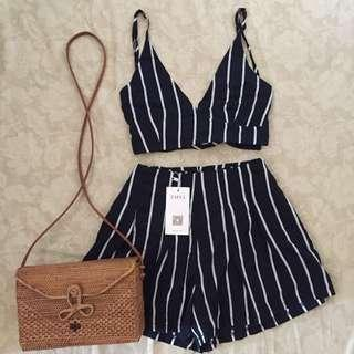 ZAFUL stripes top and high waisted shorts