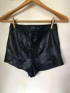 MinkPink Black Pleather High-waisted Lace-Up Shorts