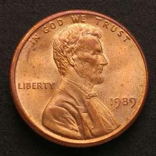 1989年 美國林肯一仙美金 硬幣一枚