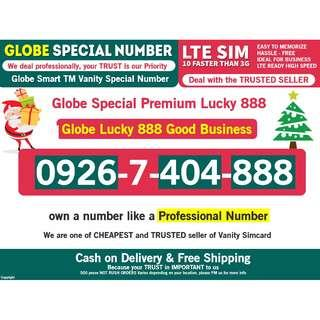 Globe SIm Special Vanity Lucky 888 Rare TO FIND and lucky for Business