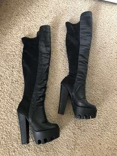 Black Pleather Over-the-knee Platform Boots