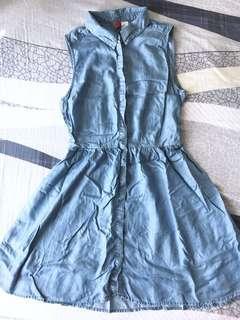 DIVIDED by H&M Denim-like Button-up Dress 仿牛仔背心裙