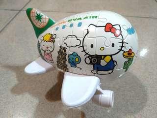 🚚 搬遷出清♢絕版私人收藏 長榮hello kitty飛機拼圖模型