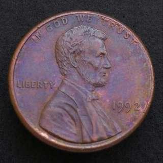 1992年 美國一仙美金 硬幣一枚