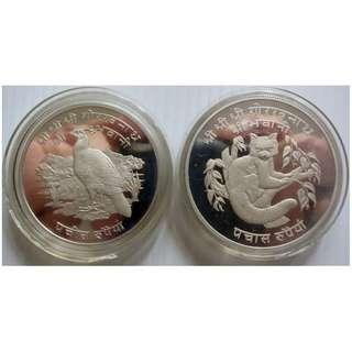 Nepal 1974 25 & 50 Rupees Wildlife Silver Proof Coin