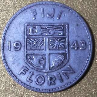 Silver 1943 Florin Coin Fiji British Commonwealth King George VI