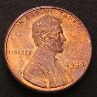 1990年 美金林肯一美仙硬幣一枚