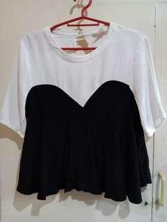 H&M  black and white Top