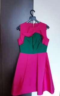 **Stunning Fuschia Green Party Dress w Frill and Bow Details