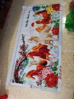 Horse fabric poster