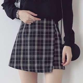 英倫風黑白格子高腰短裙m號