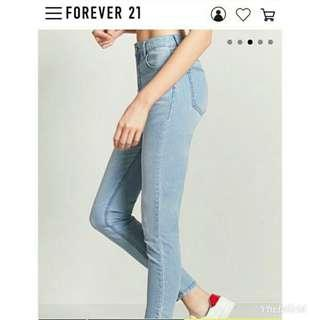 forever 21水藍牛仔長褲26號