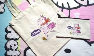 I'm Swag Unicorn Canvas Tote Bag & Pouch
