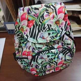 Floral and Leafy String Enclosed Back Pack