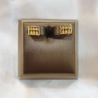 916 Gold Abacus Earrings