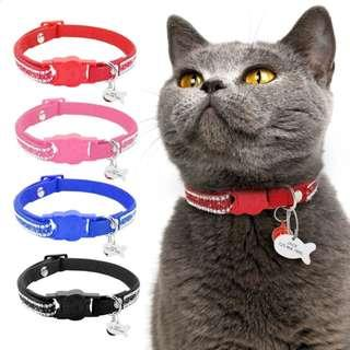 Cat Collars Rhinestone Customized ID Tag Quick Release  Buckle