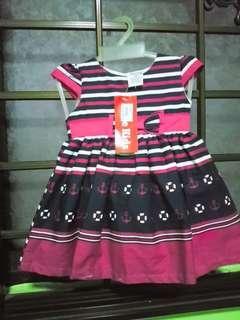 BNWT-PINK STRIPES BABY GIRL DRESS