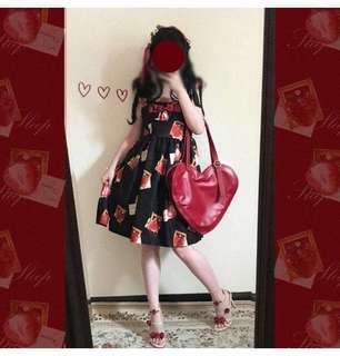 "Black Lolita jsk ""strawberry photoframe"""