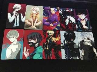 Tokyo ghoul set of 10 card stickers set #CS03