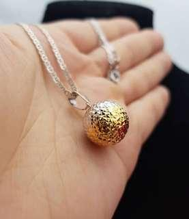 1.6g 14k TWO TONE Real Gold Disco Ball Pendant