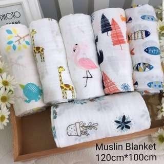 100% Cotton 2 Layers Muslin Blanket