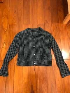 🚚 小格紋短版襯衫