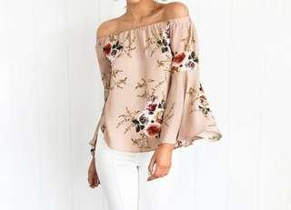 Floral off shoulder top with long broad sleeves