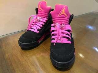 🚚 ⚜️售 二手 Nike Air Jordan 5 Retro AJ5 GS 佛羅里達 黑粉 4Y⚜️