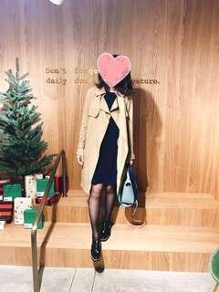 經典基本款氣質長袖黑色小洋裝 長袖羅紋 傘狀a字裙 堪比正韓貨