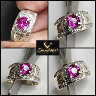Natural Hot Pink Sapphire Silver Ring (cincin perak pink sapphire asli) / Ruby Delima