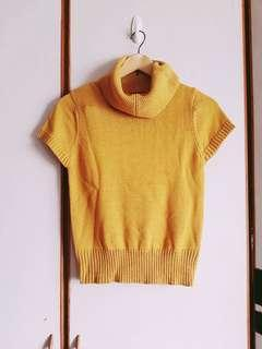 🚚 針織薑黃色翻領短袖毛衣