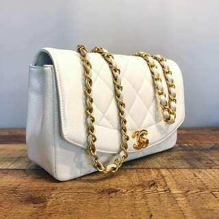 Authentic Chanel White Diana Flap in Caviar Leather and 24k Gold Hardware