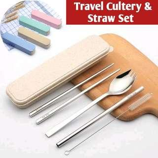 Food Grade Stainless Steel Travel Cutlery with Sraw & Brush Set