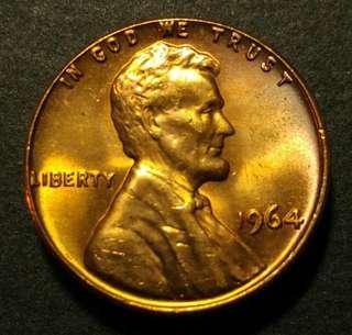 1964年 美金林肯一美仙硬幣一枚
