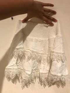 white skirt /rok putih rumbai rumbai tropical
