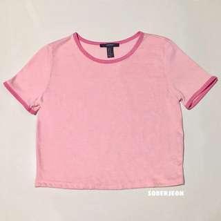 🎨 forever 21 pink ringer crop top