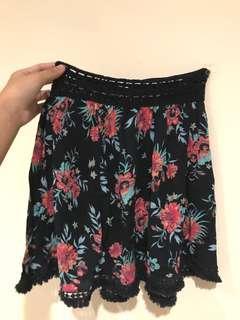 tropical navy blue skirt/ rok