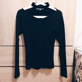 Black knitted choker top