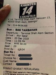 Ticket bas ke Alor Star