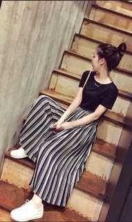 #XMAS25 Woman Pleated Wide Stripe Pants