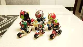 (聖誕大清貨) 懷舊絕版 BANDAI 幪面超人 SD Q版 俱樂部 電單車 V3, Stronger, Super-1 + Yutaka Sky Rider, Stronger, 2號