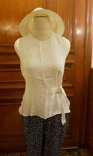Zara white blouse with belt