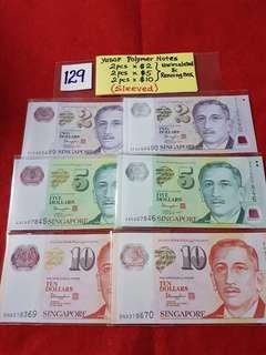 YUSOF POLYMER NOTES.   2 PCS x $2,  2 PCS x $5,  &  2 pcs x $10.   UNCIRCULATED AND RUNNING NUMBERS.   SLEEVED.