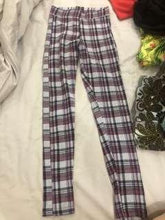 Checkered strechable pants